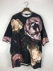 Tシャツ/M/コットン/黒/ブラック/花柄