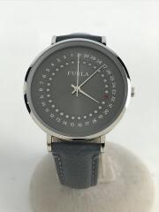 クォーツ腕時計/アナログ/レザー/GRY/IDG