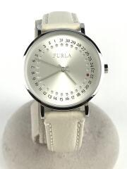 4251121508/クォーツ腕時計/アナログ/レザー/WHT/IVO