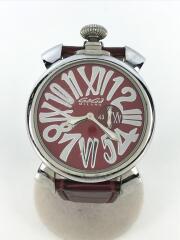 クォーツ腕時計/スリム46MM/5084.4/アナログ/レザー/RED/BRD/風防傷有