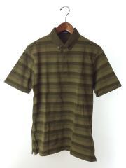ポロシャツ/LL/コットン/GRN/ボーダー