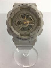 クBABY-G/クォーツ腕時計/デジタル/ラバー/ホワイト/BA-110LE