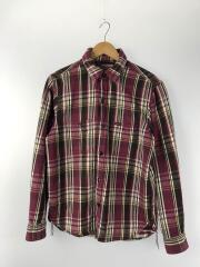 ネルシャツ/長袖チェックシャツ/L/コットン/パープル/チェック