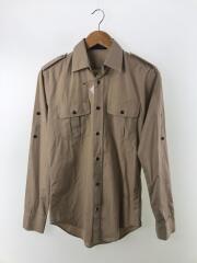 エポーレット付きミリタリーシャツ/46/コットン/ブラウン/LH55-1500