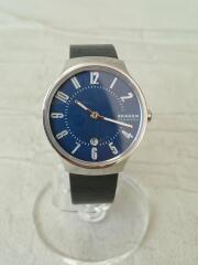 クォーツ腕時計/アナログ/レザー/NVY/SKW2807