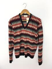 damon/70s/セーター(薄手)/L/アクリル/RED/タータンCK