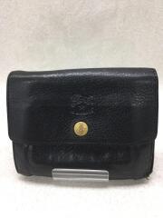 3つ折り財布/レザー/BLK/無地