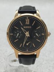 クォーツ腕時計/アナログ/BLK/BLK/VD75-KLZ0