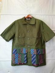 SUR+/ミリタリーシャツ/半袖シャツ/XL/コットン/KHK/無地/CPZ2001304D0012