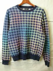 セーター(厚手)/M/コットン/BLU/総柄