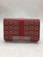 ミニシグネチャー/二つ折り財布/キャンバス/RED/総柄