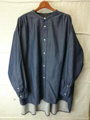 GATHER SMOCK SIDSLIT/バンドカラーシャツ/M/IDG/20-050-470-7030-3-0
