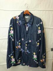 Work Jacket-Denim Floral Embroidery/カバーオール/S/コットン/IDG/花柄