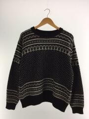 Snowy Patterned Sweater/セーター(厚手)/38/ウール/BLK/総柄/KS20FKN01