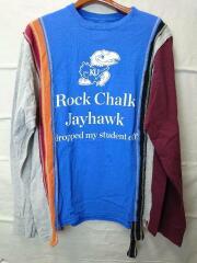 リメイクロンT/Rock Chalk Jayhawk/長袖Tシャツ/S/コットン/BLU/プリント