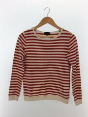 長袖Tシャツ/S/コットン/RED/ボーダー