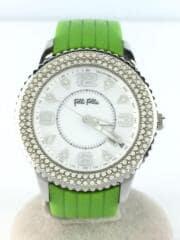 クォーツ腕時計/アナログ/ラバー/ホワイト/グリーン/白/緑