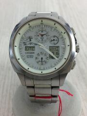 クォーツ腕時計/デジアナ/ステンレス/WHT/SLV