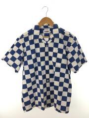 半袖シャツ/M/コットン/BLU/チェック/01182413