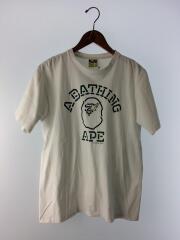 プリントTシャツ/M/コットン/WHT/ロゴ