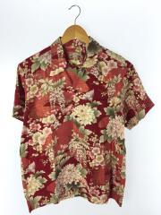 半袖シャツ/オープンカラー/38/コットン/RED/総柄/和柄/花柄