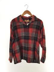 50s-60s/オープンカラーシャツ/長袖シャツ/L/ウール/RED