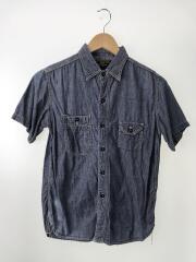 半袖シャンブレーワークシャツ/S/コットン/IDG