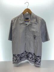 半袖開襟バンブーシャツ/オープンカラー/M/コットン/GRY