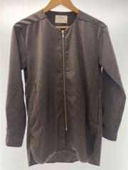 カラーレスジップアップロングシャツ/1/ポリエステル/GRY/105309004