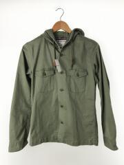 フード付ミリタリーシャツジャケット/M/コットン/KHK/1281-149-0056
