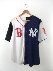 ×BEAMS×MLB/クレイジーパターンベースボールシャツ/M/ポリエステル