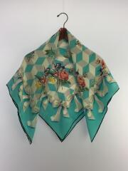 スカーフ/シルク/BLU/汚れ有/箱有