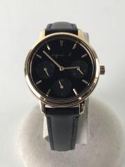 クォーツ腕時計/アナログ/レザー/BLK/VD75-KGZ0