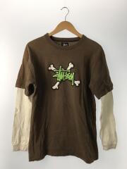 レイヤードカットソー/長袖Tシャツ/クロスボーン/USA製/M/コットン/BRW/重ね着風