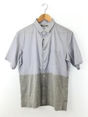 2017年モデル/ニット切替シャツ/半袖シャツ/L/コットン/グレー/NUC72SH0757SM