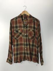 カットオフシャツ/オープンカラー/EJ159/長袖シャツ/S/レーヨン/RED/チェック