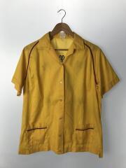 ボーリングシャツ/半袖シャツ/38/コットン/YLW/バックロゴ/バックプリント
