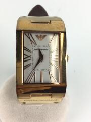 クォーツ腕時計/アナログ/レザー/GLD/BRW/AR-7339