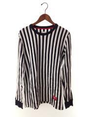 13FW Vertical Stripe Top/長袖Tシャツ/M/コットン/ブラック/ストライプ