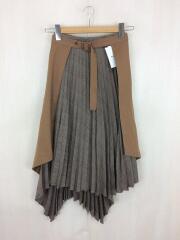 ロングスカート/プリーツレイヤードスカート/09WFS185020/O/ポリエステル/BRW