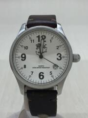 IL BISONTE/イルビゾンテ/クォーツ腕時計/アナログ/レザー/WHT/BLK