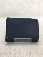 2つ折り財布/レザー/NVY