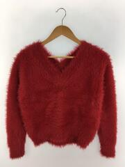セーター(厚手)/V NECK SHAGGY KNIT/017210790/アクリル/RED