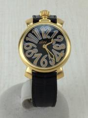 クォーツ腕時計/アナログ/レザー/WHT/6023.02LT/マヌアーレ35mm