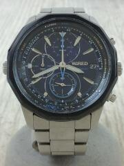 クロノグラフクォーツ腕時計/アナログ/ステンレス/BLU/SLV/VK67-K000