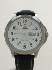 クォーツ腕時計/アナログ/フェイクレザー/WHT/BLK/UG17-C1-B CS/オリエント