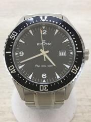 200m/660FT/クォーツ腕時計/アナログ/ステンレス/BLK/SLV/53016/エドックス