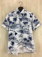Popover Shirt-Printed Surf/半袖シャツ/XS/コットン/WHT/総柄