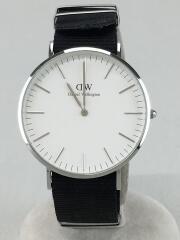 クォーツ腕時計/アナログ/ナイロン/WHT/BLK/ダニエルウェリントン