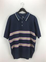 20SS/Montego Stripe S/S Polo/L/ポリエステル/NVY/ステューシー
